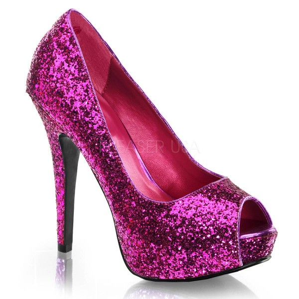 TWINKLE 18G ° Damen Peep Toe ° Violett Glitter ° Fabulicious