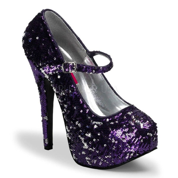 TEEZE 07SQ ° Damen Pumps ° Violett Silber Pailetten ° Bordello