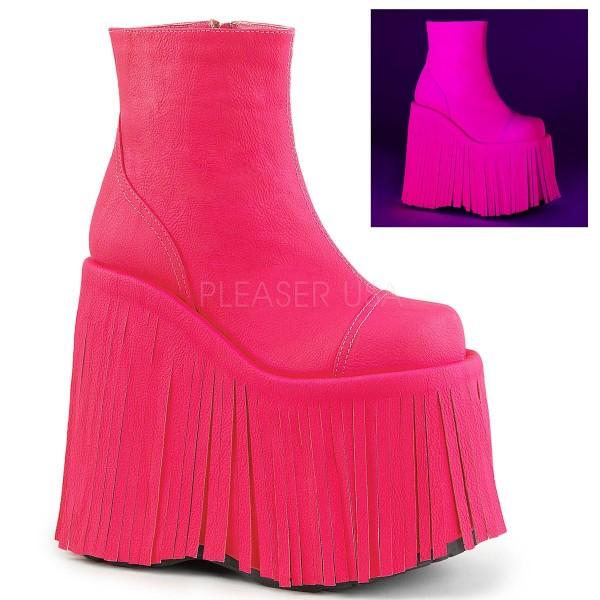 SLAY 205 ° Damen Plateau Stiefelette ° Neon PinkMatt ° Demonia