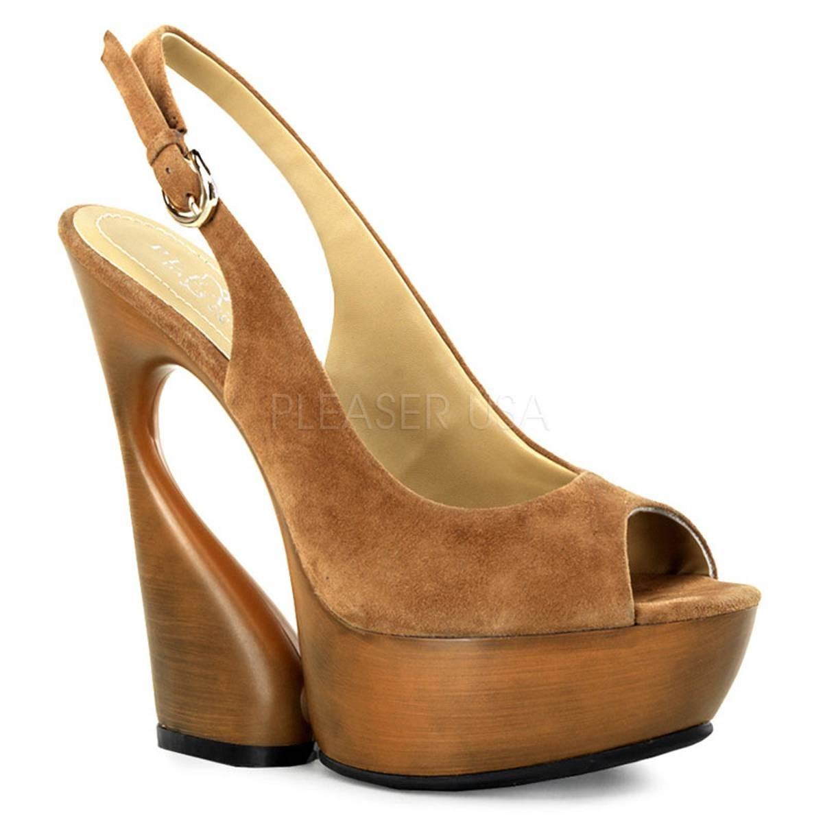 Highheels für Frauen - SWAN 654 ° Damen Sandalette ° Braun Leder ° Pleaser Day Night  - Onlineshop RedSixty