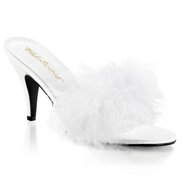 AMOUR 03 ° Damen Sandalette ° Weiß Satin ° Fabulicious