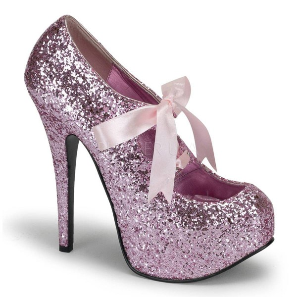 TEEZE 10G ° Damen Pumps ° Pink Glitter ° Bordello