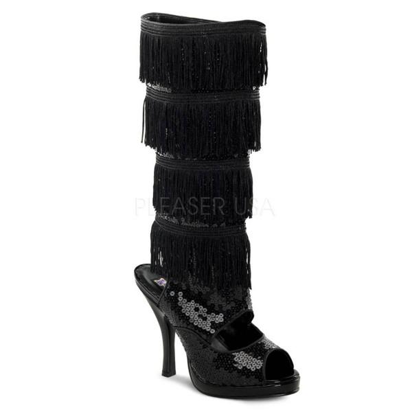FLAPPER 168 ° Damen Stiefel ° Schwarz Pailetten ° Funtasma