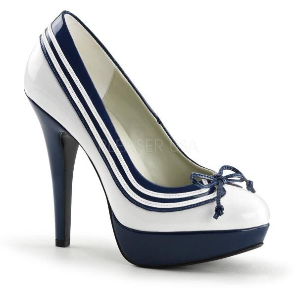 LOLITA 13 ° Damen Pumps ° Weiß Blau Glänzend ° Funtasma