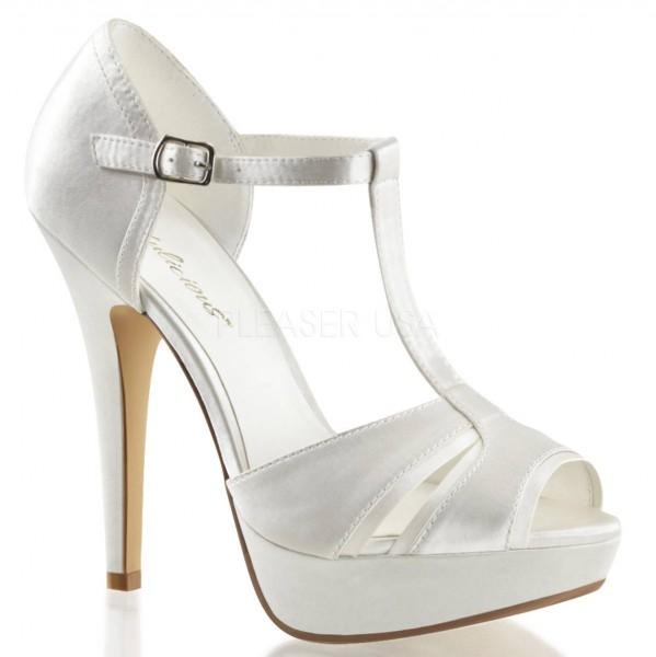 LOLITA 20 ° Damen Peep Toe Sandalette ° Weiß Satin ° Fabulicious